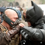 (L-r) TOM HARDY as Bane and CHRISTIAN BALE as Batman in Warner Bros. Pictures? and Legendary Pictures? action thriller ?THE DARK KNIGHT RISES,? a Warner Bros. Pictures release. TM and © DC Comics